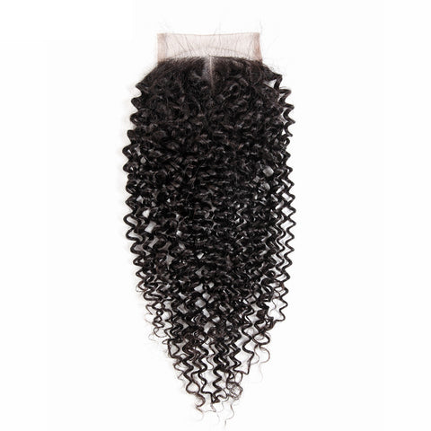 Lakihair 8A Kinky Curly Lace Closure 4x4 Brazilian Virgin Human Hair Closure With Baby Hair