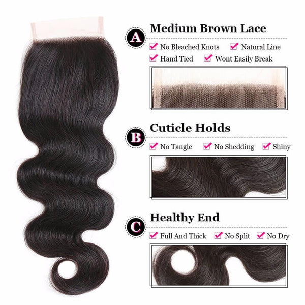 Lakihair 8A Indian Human Hair Body Wave 3 Bundles With 4x4 Lace Closure