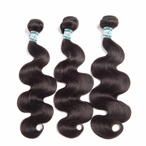Lakihair Human Hair Bundles 3 Bundles With Lace Closure Brazilian Body Wave Virgin Human Hair Weave