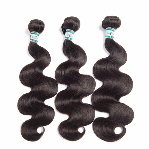 Lakihair 8A Malaysian Human Hair Body Wave 3 Bundles With 4x4 Lace Closure