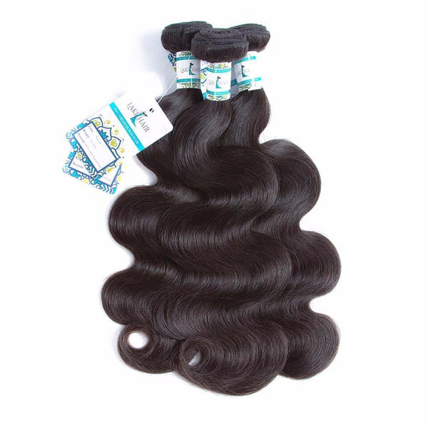 Lakihair Virgin Human Hair Bundles With Lace Frontal Closure Brazilian Body Wave 3 Bundles With Lace Frontal Closure