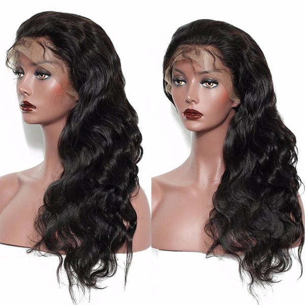 Lakihair Body Wave 8A Full Lace Virgin Human Hair Wigs 150% Density Pre Plucked With Baby Hair