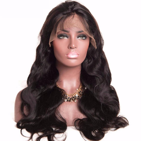 Lakihair Body Wave Full Lace Virgin Human Hair Wigs 180% Density Mid-Length Human Wigs