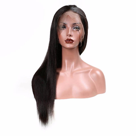 Lakihair Full Lace Virgin Human Hair Wigs Mid-Length Straight Hair Wigs 180% Density