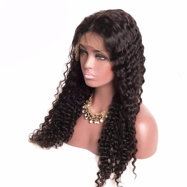 Lakihair Full Lace Wigs Mid-Length Virgin Human Hair Deep Wave 180% Density