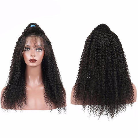 Lakihair Mid-Length Kinky Curly Full Lace Virgin Human Hair Wigs 150% Density