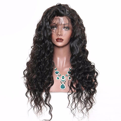 Lakihair Full Lace Virgin Human Hair Wigs Loose Wave 180% Density Mid-Length Wigs