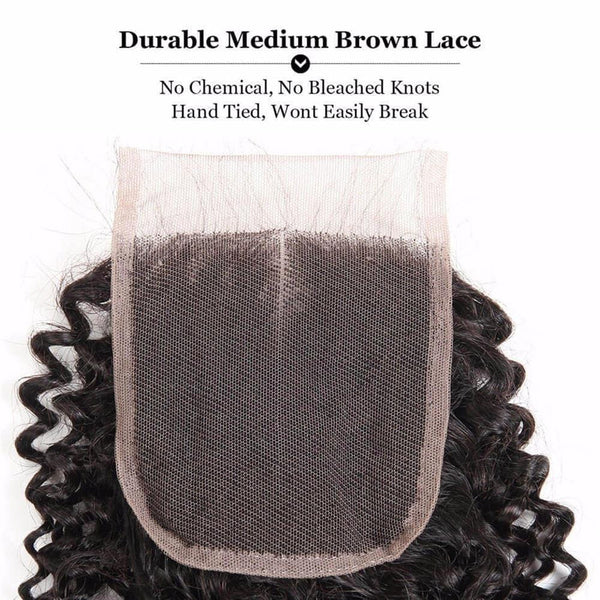 Lakihair 8A Indian Human Hair Deep Wave 3 Bundles With 4x4 Lace Closure