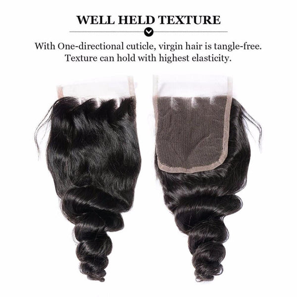 Lakihair Loose Wave 3 Bundles With Closure Virgin Human Hair Bundles Brazilian Human Hair Extensions