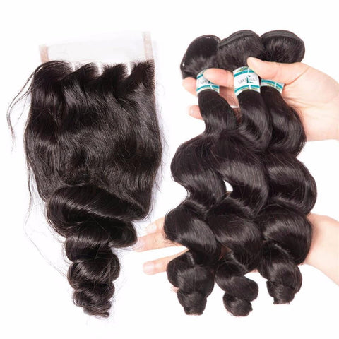 Lakihair 8A Indian Human Hair Loose Wave 3 Bundles With 4x4 Lace Closure