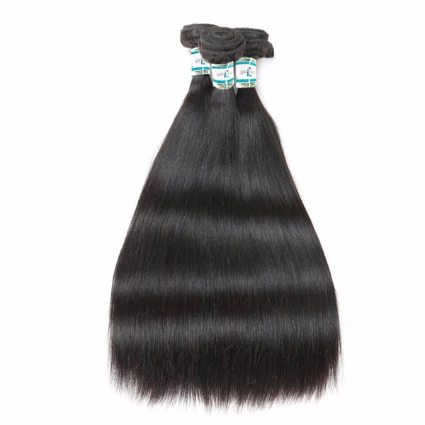 Lakihair 10A Top Quality Brazilian Straight 3 Bundles Human Hair Weaving 100% Unprocessed
