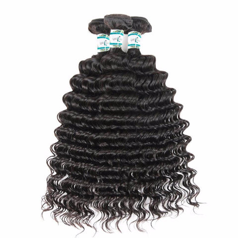 Lakihair 10A Top Quality Deep Wave 3 Bundles Human Hair Weaving Unprocessed Virgin Hair