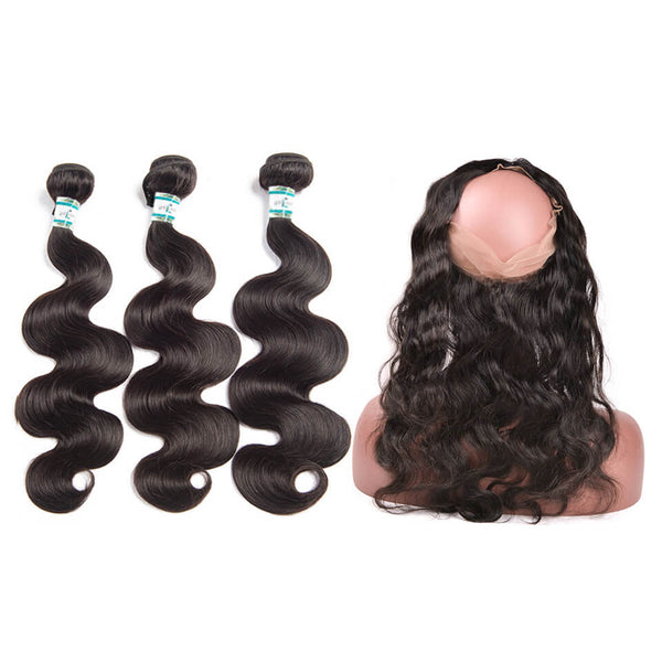 Lakihair 8A Body Wave Virgin Human Hair 3 Bundles Hair Weaving With 360 Lace Frontal Closure