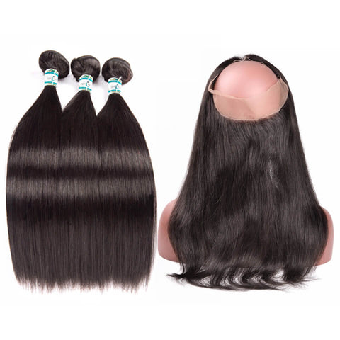 Lakihair 8A Real Virgin Human Straight Hair 3 Bundles Hair Weaving With 360 Lace Frontal Closure