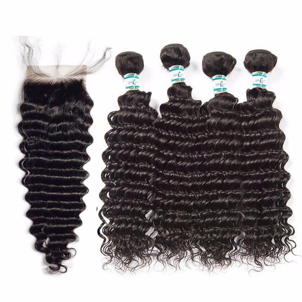Lakihair Unprocessed Virgin Human Hair Bundles With Lace Frontal Closure Brazilian Deep Wave 4 Bundles With Closure