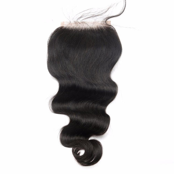 Lakihair 10A Natural Black Brazilian Human Hair Body Wave Lace Closure 4x4 Pre Plucked Hairline