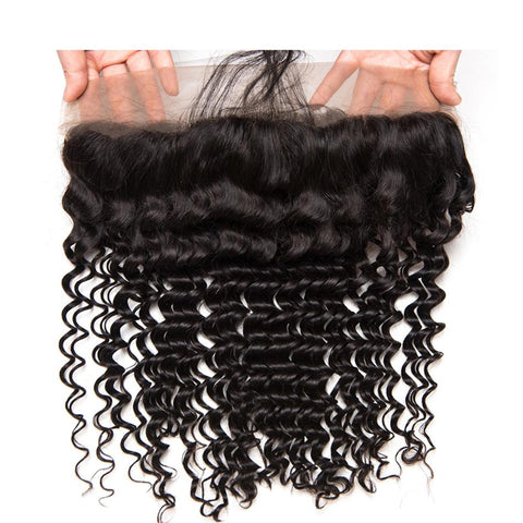 Lakihair 8A 13x4 Lace Frontal Virgin Brazilian Human Hair Deep Wave Ear To Ear Lace Frontal Closure