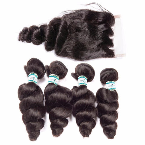 Lakihair Unprocessed Virgin Human Hair Bundles With Lace Frontal Closure Indian Loose Wave 4 Bundles With Closure