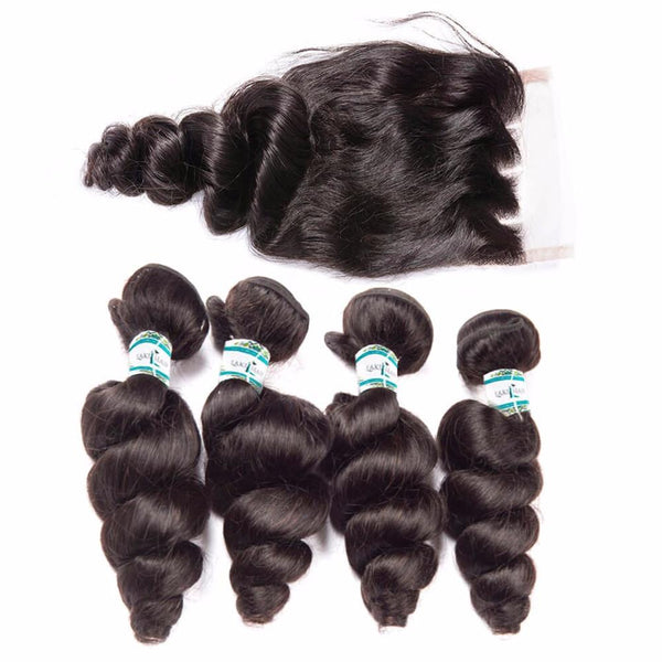 Lakihair Unprocessed Virgin Human Hair Bundles With Lace Frontal Closure Brazilian Loose Wave 4 Bundles With Closure
