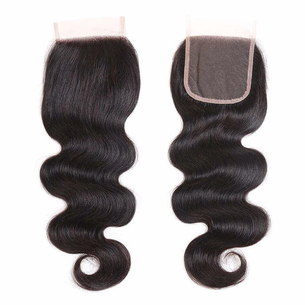 Lakihair Unprocessed Virgin Human Hair Bundles With Lace Frontal Closure Peruvian Body Wave 4 Bundles With Lace Closure