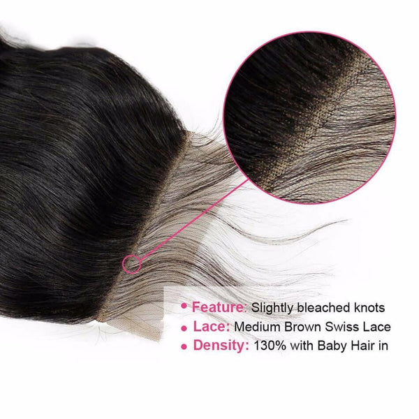 Lakihair Unprocessed Virgin Human Hair Bundles With Lace Frontal Closure Malaysian Body Wave 4 Bundles With Closure