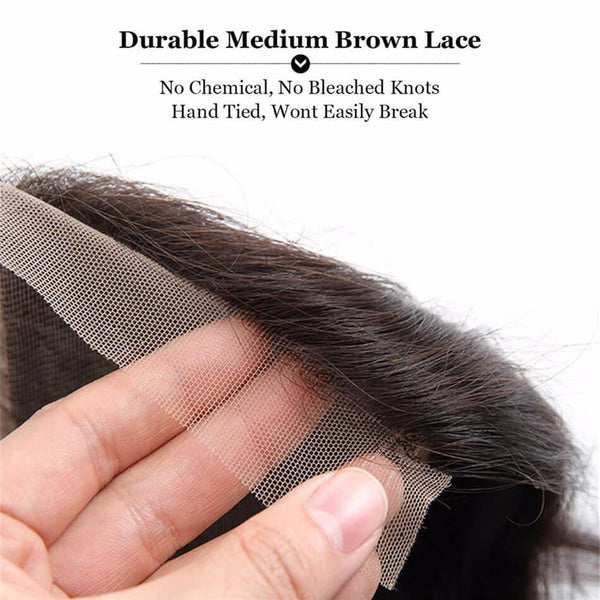 Lakihair Unprocessed Virgin Human Hair Bundles With Lace Frontal Closure Peruvian Straight Hair 4 Bundles With Lace Closure