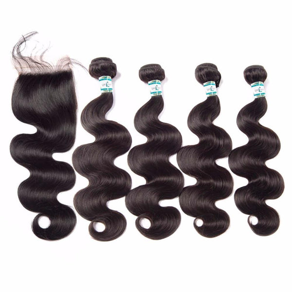 Lakihair Unprocessed Virgin Human Hair Bundles With Lace Frontal Closure Brazilian Body Wave 4 Bundles With Closure