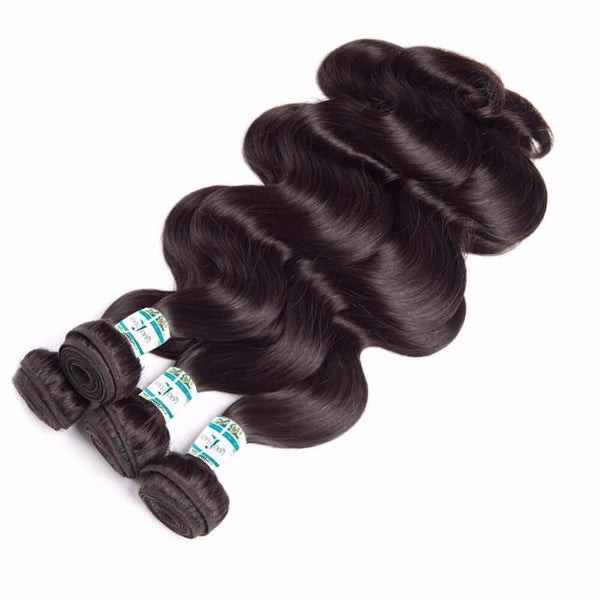 Lakihair Unprocessed Virgin Human Hair Bundles With Lace Frontal Closure Indian Body Wave 4 Bundles With Closure