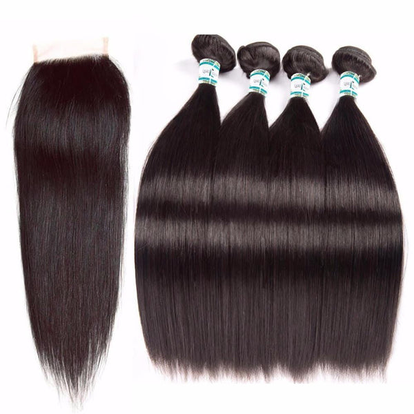 Lakihair 8A Indian Virgin Human Straight Hair 4 Bundles With Lace Closure 4x4