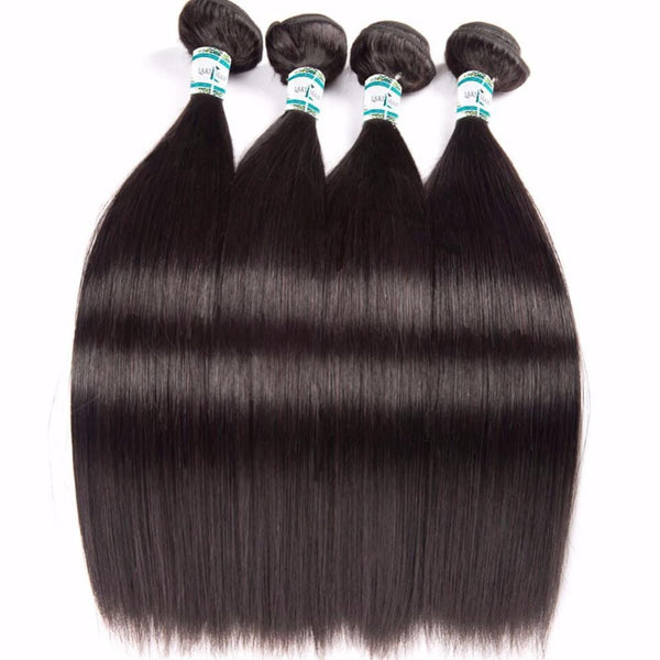 Lakihair Unprocessed Virgin Human Hair Bundles With Lace Frontal Closure Indian Straight Hair 4 Bundles With Closure