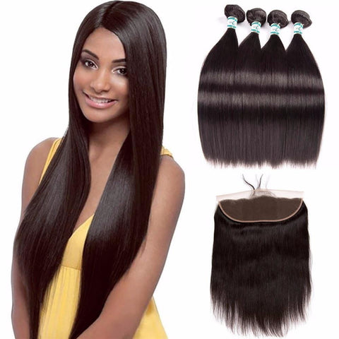 Lakihair 8A Brazilian Virgin Human Straight Hair 4 Bundles With 13x4 Frontal Closure