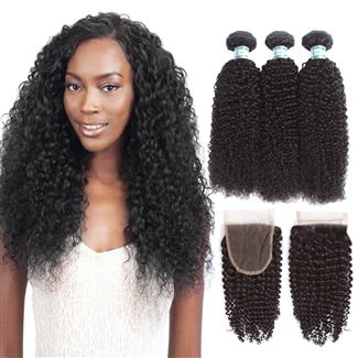 Lakihair 10A Brazilian Kinky Curly 3 Bundles With Lace Closure 4x4 Free Part Middle Part Three Part