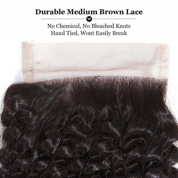 Lakihair 8A Peruvian Human Hair Kinky Curly 3 Bundles With Lace Closure 4x4