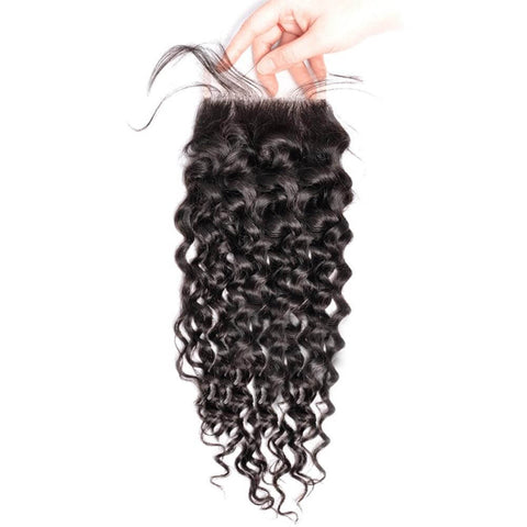 Lakihair 10A Brazilian Virgin Human Hair Lace Closure 4x4 Water Wave Pre Plucked Hairline