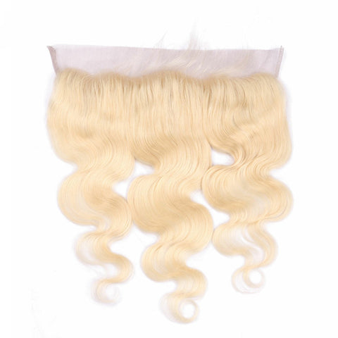 Lakihair 10A 613 Blonde Body Wave Ear To Ear 13x4 Lace Frontal  Pre Plucked Virgin Human Hair