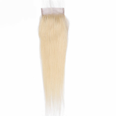 Lakihair 10A 613 Blonde Color Lace Closure 4x4 Brazilian Straight Hair Closure With Baby Hair