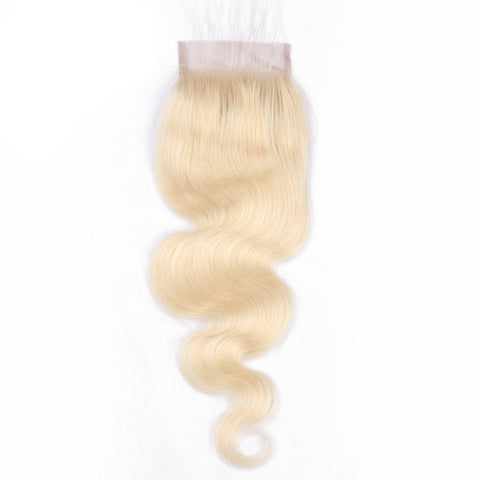 Lakihair 10A 613 Blonde Body Wave Lace Closure 4x4 Brazilian Human Hair  With Baby Hair