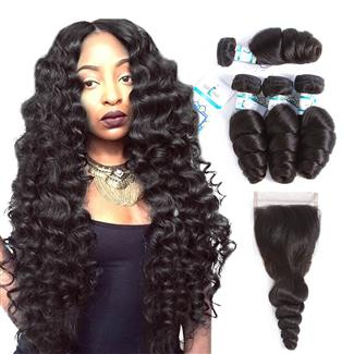 Lakihair 10A Brazilian Loose Wave Unprocessed Virgin Human Hair 4 Bundles With Lace Closure 4x4