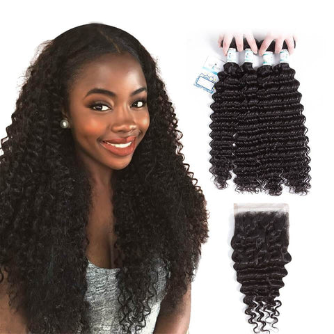 Lakihair 8A Virgin Human Hair Deep Wave 4 Bundles With Lace Closure 4x4