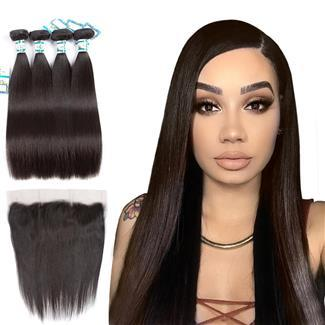 Lakihair 10A Virgin Human Hair Brazilian Straight 4 Bundles With Lace Frontal Closure Pre Plucked