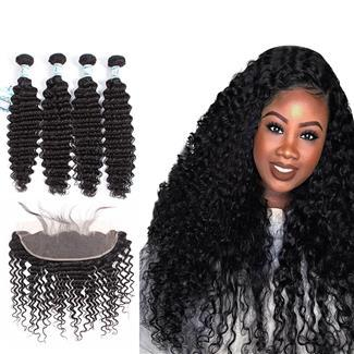 Lakihair 10A Deep Wave Brazilian Virgin Human Hair 4 Bundles With Lace Frontal Closure 13x4