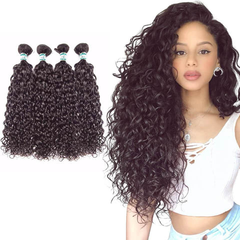 Lakihair 8A Virgin Human Hair Water Wave 4 Bundles Hair Extensions