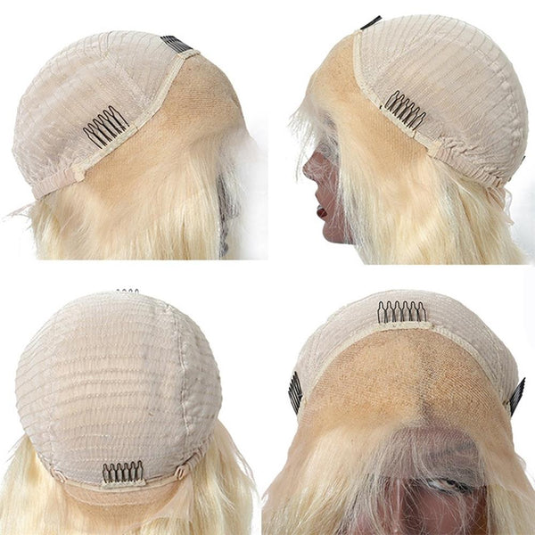 Lakihair Brazilian 613 Blonde Lace Front Wig Brazilian Straight Virgin Human Pre Plucked
