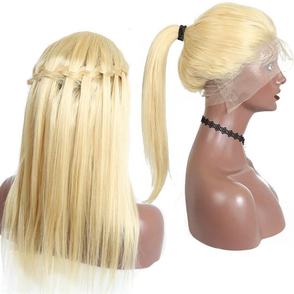 Lakihair 613 Blonde Full Lace Wigs 180% Density 8A Brazilian Virgin Human Straight Pre Plucked