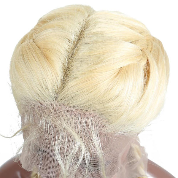 Lakihair 613 Blonde Full Lace Wigs 180% Density Short Virgin Human Straight Hair Wigs
