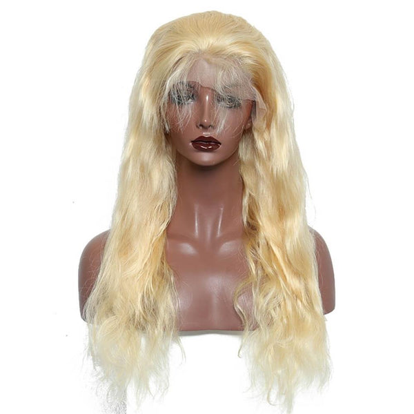 Lakihair 613 Blonde Body Wave Full Lace Wigs 180% Density 8A Brazilian  Hair Pre Plucked Hairline