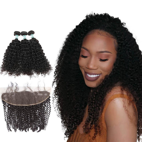 Lakihair Brazilian Human Hair Bundles With Frontal Closure Kinky Curly 3 Bundles With Lace Frontal Closure