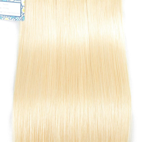 Lakihair 10A Grade 613 Blonde Straight 3 Bundles With Lace Closure 4x4 Brazilian Human Hair