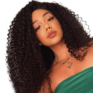 Lakihair Kinky Curly 8A Lace Front Wigs Virgin Human Hair Lace Wigs 150% Density Pre Plucked