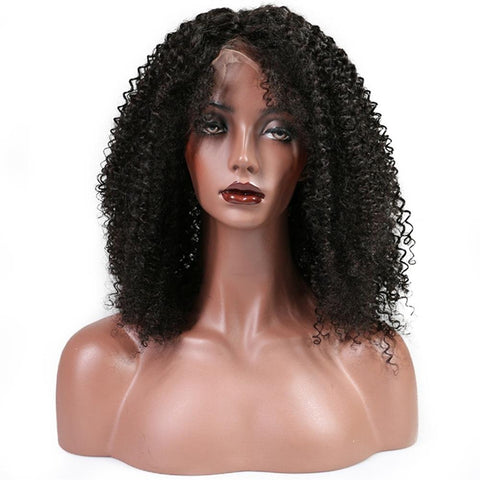Lakihair Kinky Curly Lace Front Wigs Mid-Length Virgin Human Hair Lace Wigs Pre Plucked